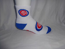 Chicago Cubs Baseball Adult Deuce Quarter Socks White Blue Logo Leg and Foot