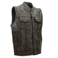 MENS SOA MOTORCYCLE DISTRESSED BROWN LEATHER VEST w/ CONCEAL GUN POCKETS - DA65
