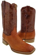 Mens Cognac Python Snake Print Exotic Western Cowboy Leather Boots