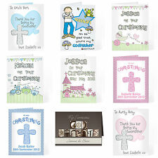Personalised Christening Card for Boys Girls Godmother Godfather Thank you Card