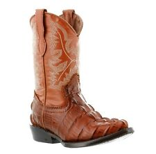 boys toddler little kid cognac brown crocodile tail western leather cowboy boots