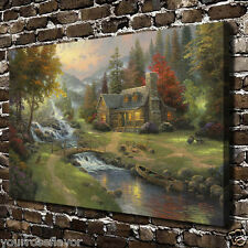 Mountain Paradise Thomas Kinkade ART HD Canvas Giclee Print Home decor