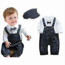 Baby Boys Kids Cotton Clothes Romper Outfits Bodysuit Jumpsuit + Hat 6-18 Months