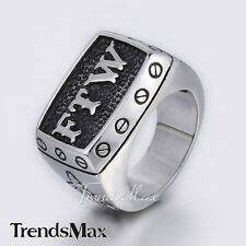 Mens Boy Silver Black Carved Letter FTW 316L Stainless Steel Signet Ring Fashion