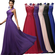 RETRO Long Lace Chiffon Bridesmaid Formal Gown Party Cocktail Evening Prom Dress