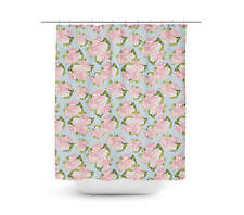 Pink Roses on Blue Polka Dots Shower Curtain - Vinyl Anti-Bacterial