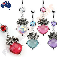 Jewelled Navel Ring with Bouque Of Flowers and Oval Gem Dangle
