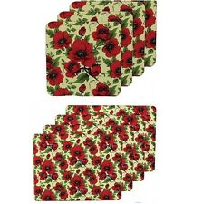 Leonardo Collection  4 x  Red Poppy Field Table Mats PlaceMats Or 4 Coasters
