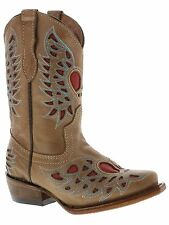 girls kids youth light brown red heart wings western leather cowgirl boots rodeo
