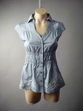 Chambray Cotton Smocked Waist Americana Prep Embroidery Top 175 mv Blouse S M L