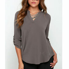 New Sexy Women's V-neck T Shirt OL Tops Blouse Casual Long Sleeve Chiffon S-5XL