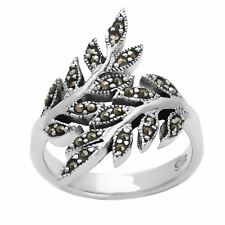 Silverly .925 Sterling Silver Marcasite Oxidised Overlapping Leaf Branch Ring