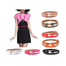 New Fashion Woman Candy Color Bowknot PU Leather Thin Skinny Waistband Belt