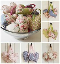 Handmade Tilda Fabric Hanging Hearts Set of Two Vintage Wedding Shabby Chic