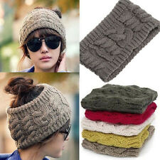 Fashion Winter Warm Women Lady Braided Knit Wool Hat Cap Headband Hair bands 83g
