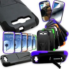 For Samsung Galaxy S3 I9300 Hybrid Tough Case Hard Soft Dual Layer Stand Cover