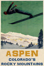 MAN DOWNHILL SKIING SKI JUMPING ASPEN COLORADO WINTER SPORT VINTAGE POSTER REPRO