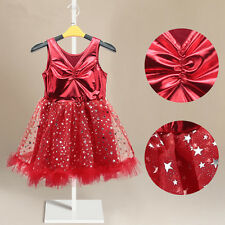 Girl Kids Red Dress Princess Party 1-6Y Tutus Tulle Star Wedding Dresses