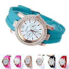 Geneva Fashion Crystal Jelly Gel Silicon Ladies Girl Women's Quartz WristWatch Q