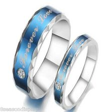 "Blue Stainless Steel with Rhinestone ""Forever Love"" Couple Ring"