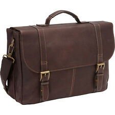 Heritage Colombian Leather Flapover Briefcase 2 Colors Non-Wheeled Computer Case