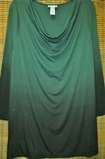 Catherines Dark Green Black Ombre Gradient Draping Knit Top 0X 1X 3X New Plus