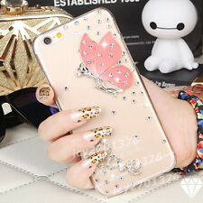 Handmade Diamonds love pink butterfly clear hard Back case skin cover for LG