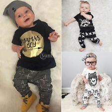 Newborn Infant Baby Boys Kids T-shirt Tops+Long Pants Outfits Clothes Sets 0-3Y
