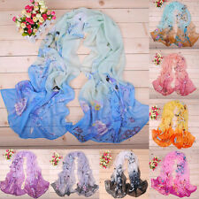 Womens Long Stole Chiffon Soft Scarves Bird Floral Printed Wraps Sheer Scarf YG
