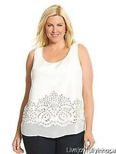 LANE BRYANT ~ New Plus Size 26 28 ~ Off White FAUX LEATHER Cut-Out Tank Shirt 4X