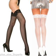 Plus Size Lingerie OS Queen Fishnet Thigh Hi's w/ Lace Top and Back Seam ML4919Q