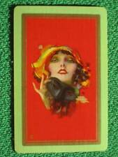 """Art Deco Flapper w/ Masquerade Mask Rolf Armstrong Pinup Swap Card """"Dreamy Eyes"""""""