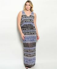Chiffon Paisley Floral Multi-Color Maxi Dress Full Length Plus Size 1X 2X 3X New