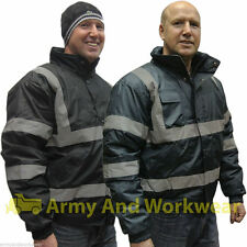 Hi Viz Bomber Reflective Waterproof Padded Work Mens Jacket Coat SIA Guard Mens