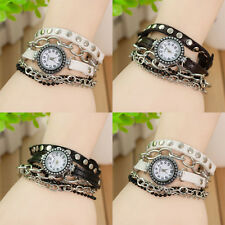 Watch Weave Wrap Around Chain Beads Leather Bracelet Dial Quartz Wrist Vintage