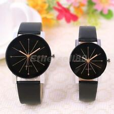 Couples Watch Leather Band Stainless Steel Casual Analog Dial Quartz WristWatch