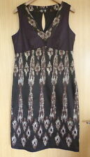 Laura Ashley Ladies Dress 14 Brown Smart Work Shift Wedding Races (go)