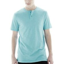 Arizona Solid Henley Shirt Glacier Aqua Size M, L New With Tags