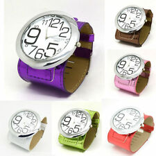 ILJ Real Leather Quartz Wrist Watch Womens Mens Unisex Big Dial  Bangle Students
