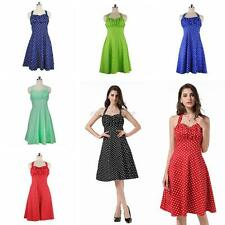 Elegant Womens Polka Dots Swing 1950s Housewife Pinup Vintage Retro Halter Dress