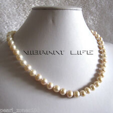 "18"" 8-9mm White AA Freshwater Pearl Necklace D Clasp AC"