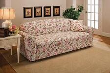 PINK FLORAL SOFA SLIPCOVER-ALSO COMES IN COUCH LOVESEAT CHAIR RECLINER FUTON