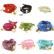 Hot Womens Charm Multicolor Knit Shell Heart Rabbit Fashion Bracelet Clearance