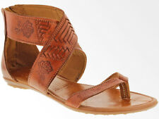 womens 203 real brown huarache leather flip flop sandals ankle straps buckle