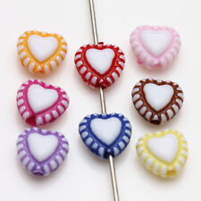 Lots 50/100X Mixed Acrylic Heart Shape Loose Spacer Beads Charms Findings 8X7mm