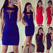 Women Casual Summer Short Mini Dress Party Evening Bandage Bodycon Sleeveless