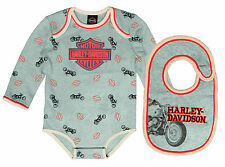 Harley Davidson Baby Boy's Logo BodySuit & bib Infant Clothes Gift Set