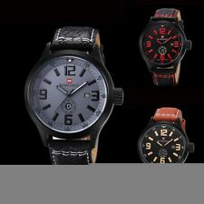 New Fashion Men's Date Leather Stainless Steel Sport Military Quartz Wrist Watch
