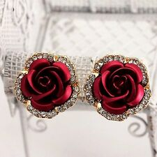 Unique Rose Flower Crystal Rhinestone Ear Stud Pierced Earrings Women Tiny Gifts