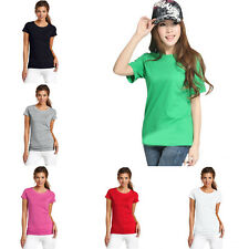 New Women Soild Comfortable Basic Round Neck Short Sleeve Casual Cotton T-Shirt
